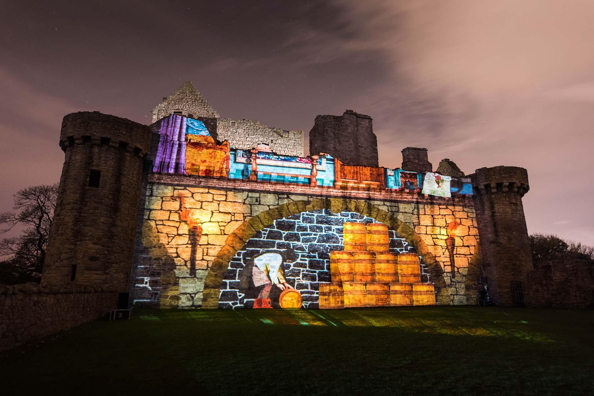 Spotlight on Mary, Projection Light Walk, in Craigmillar East yard