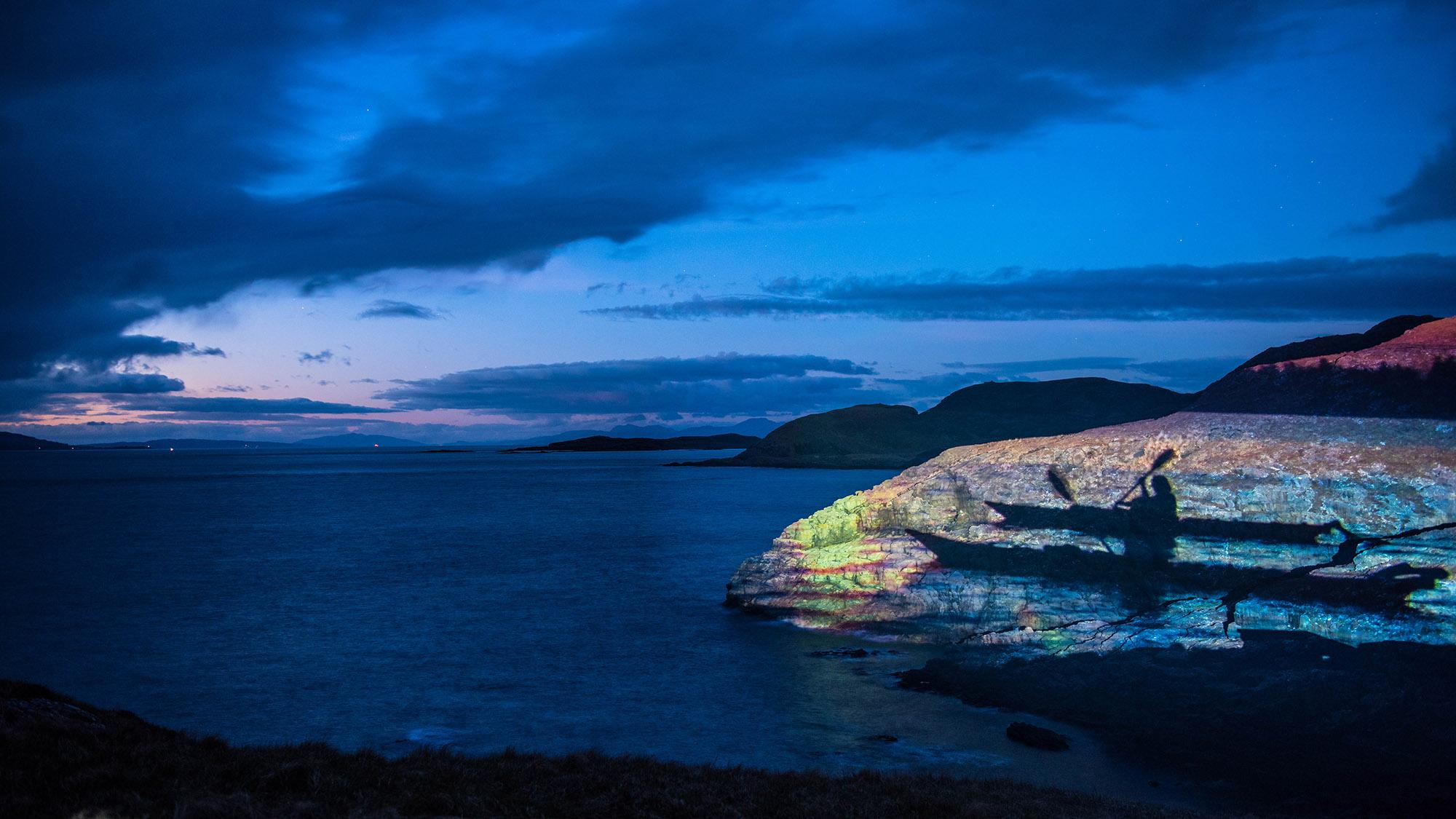 Calmac timelapse marketing film, projection on Scottish Rock