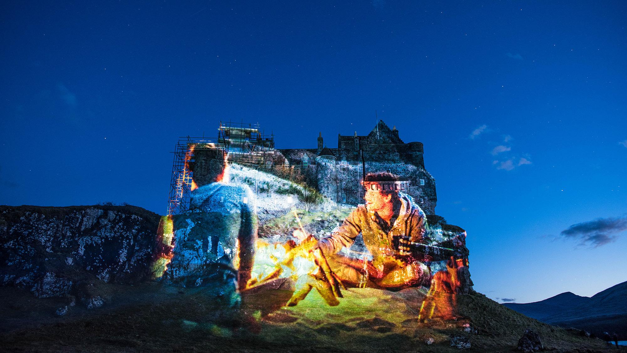 Calmac timelapse marketing film, projection on Duart Castle, Mull