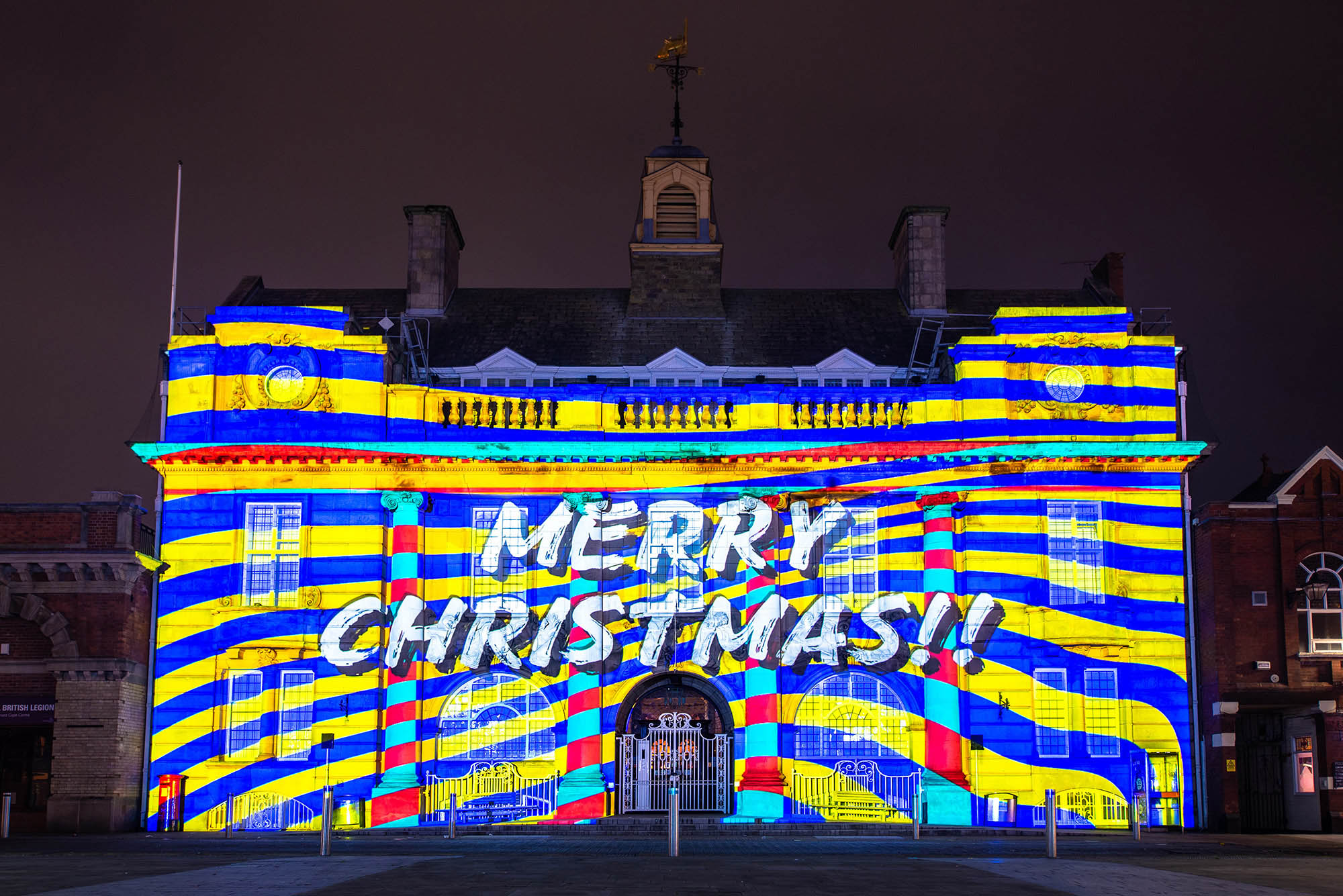 Lumen Light Festival, Projection on Municipal Hall, Christmas show