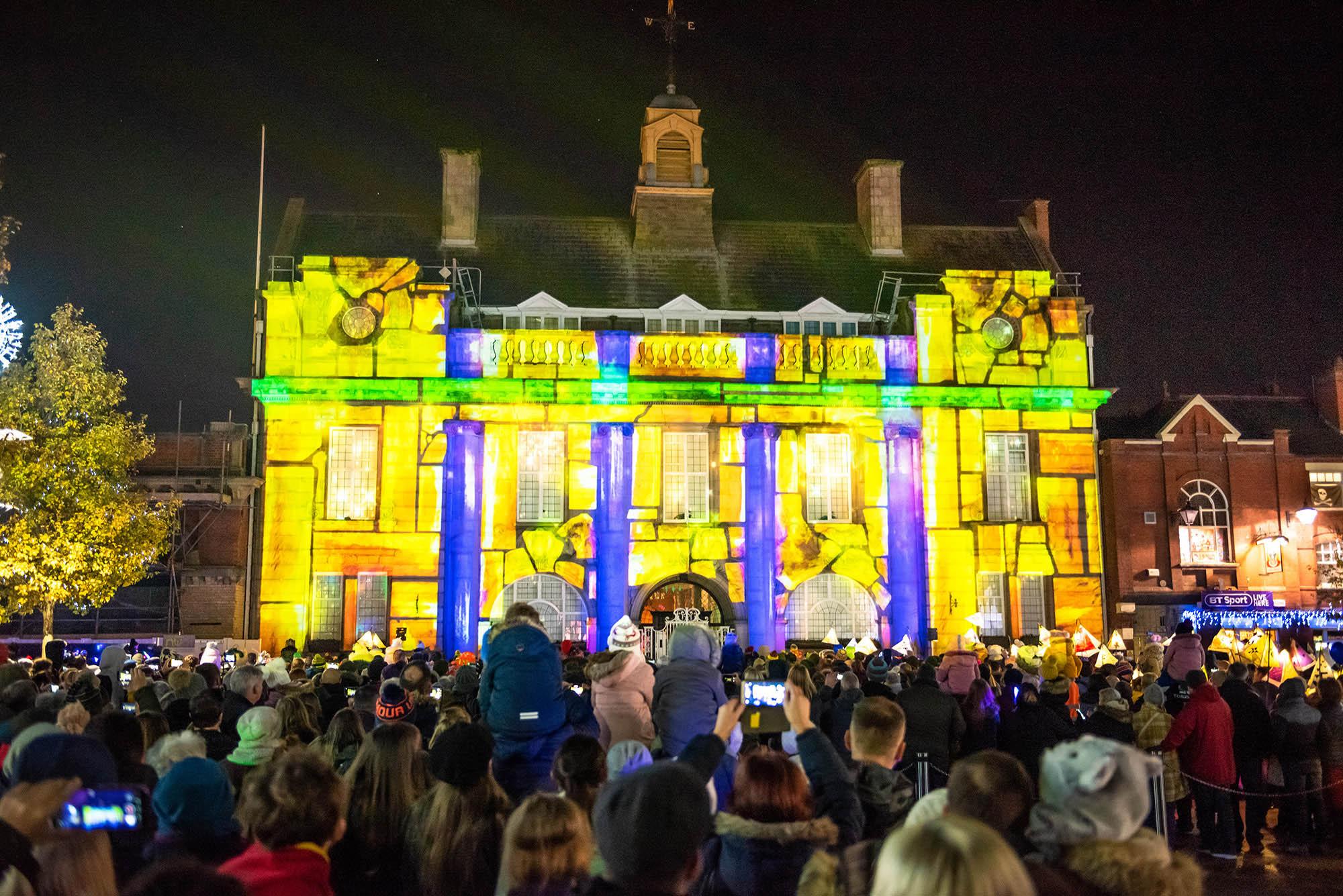 Lumen Light Festival, Projection on Municipal Hall, Christmas show