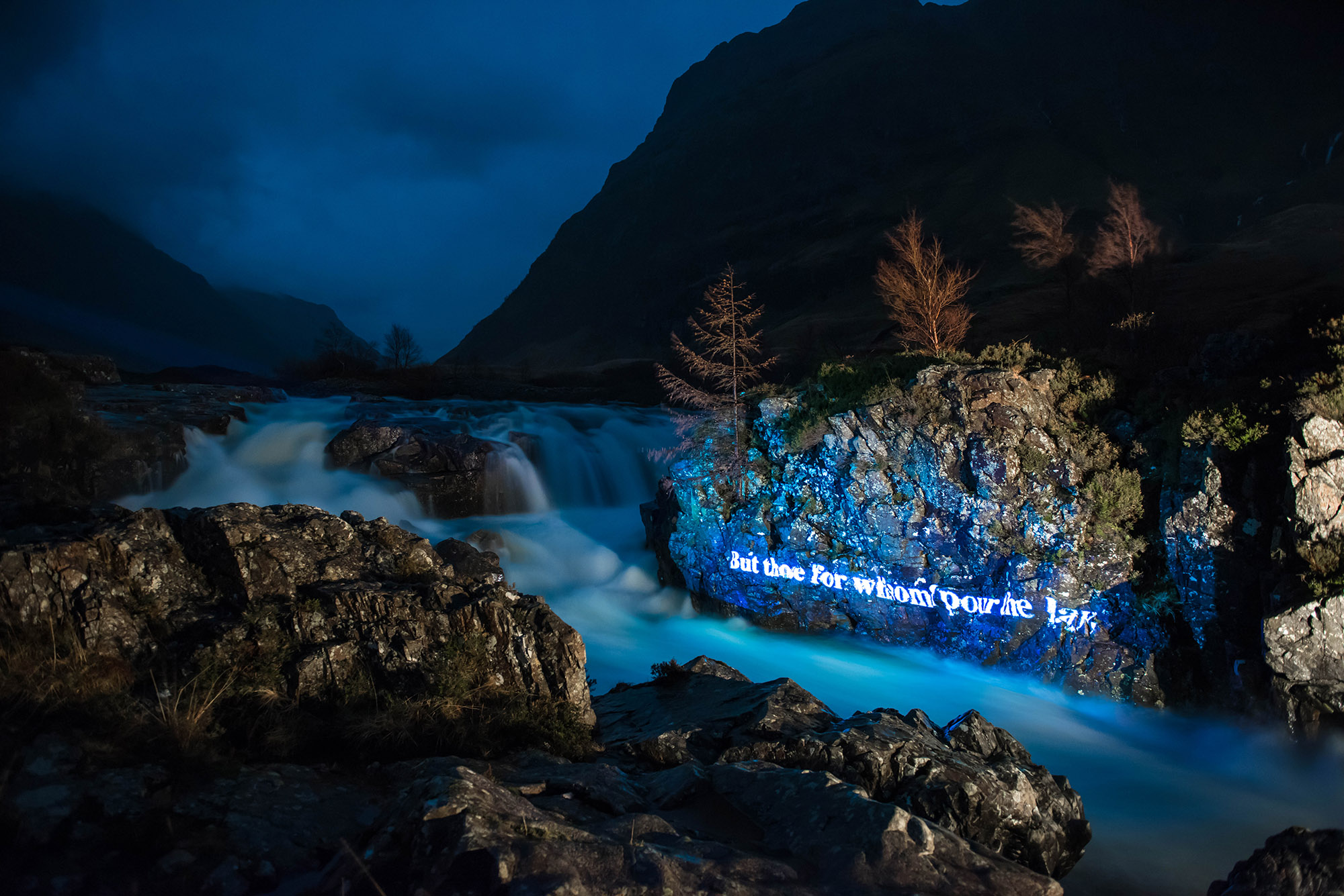 On The Massacre of Glencoe, Projection timelapse film, waterfall
