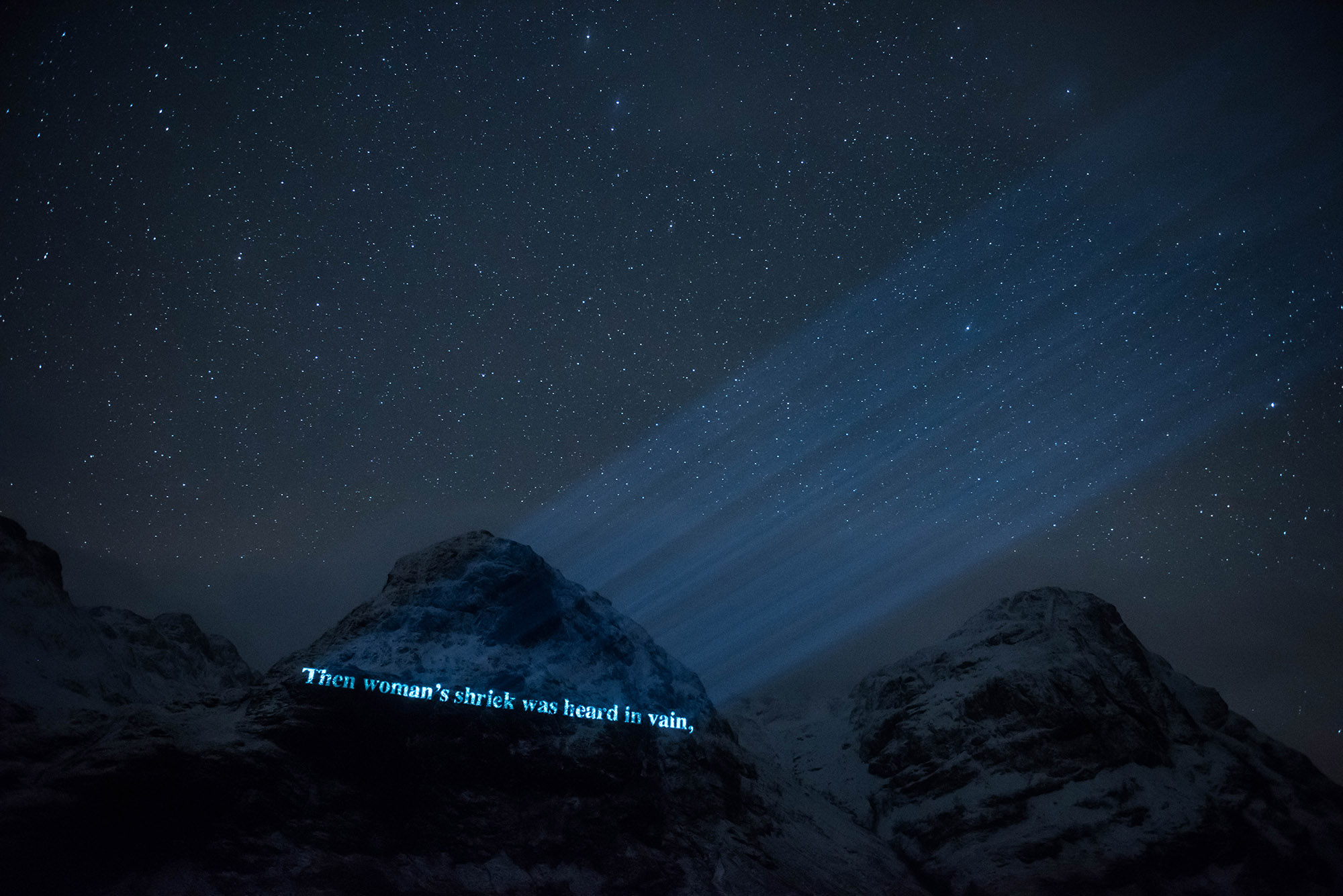 On The Massacre of Glencoe, Projection timelapse film, mountain