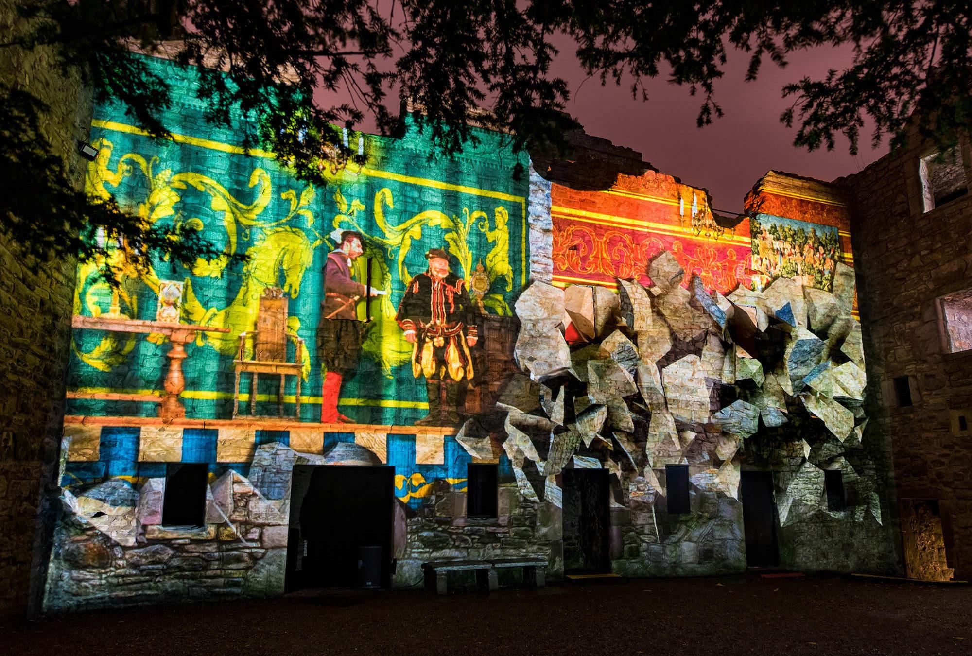 Spotlight on Mary, Projection Light Walk, in Craigmillar courtyard