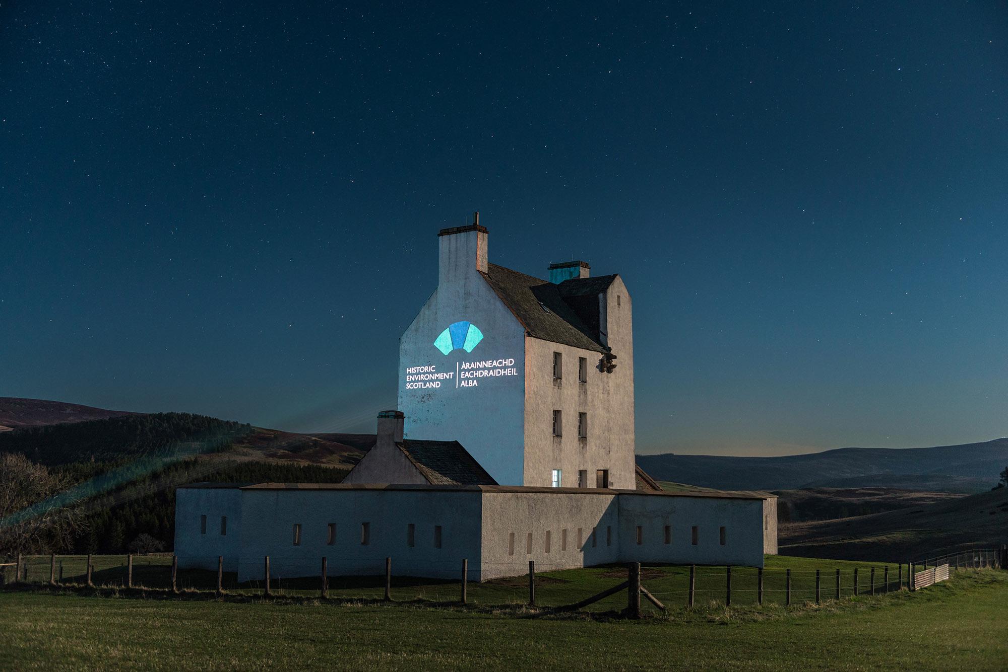 Òran nan Clachan projection timelapse film, Corgarff Castle