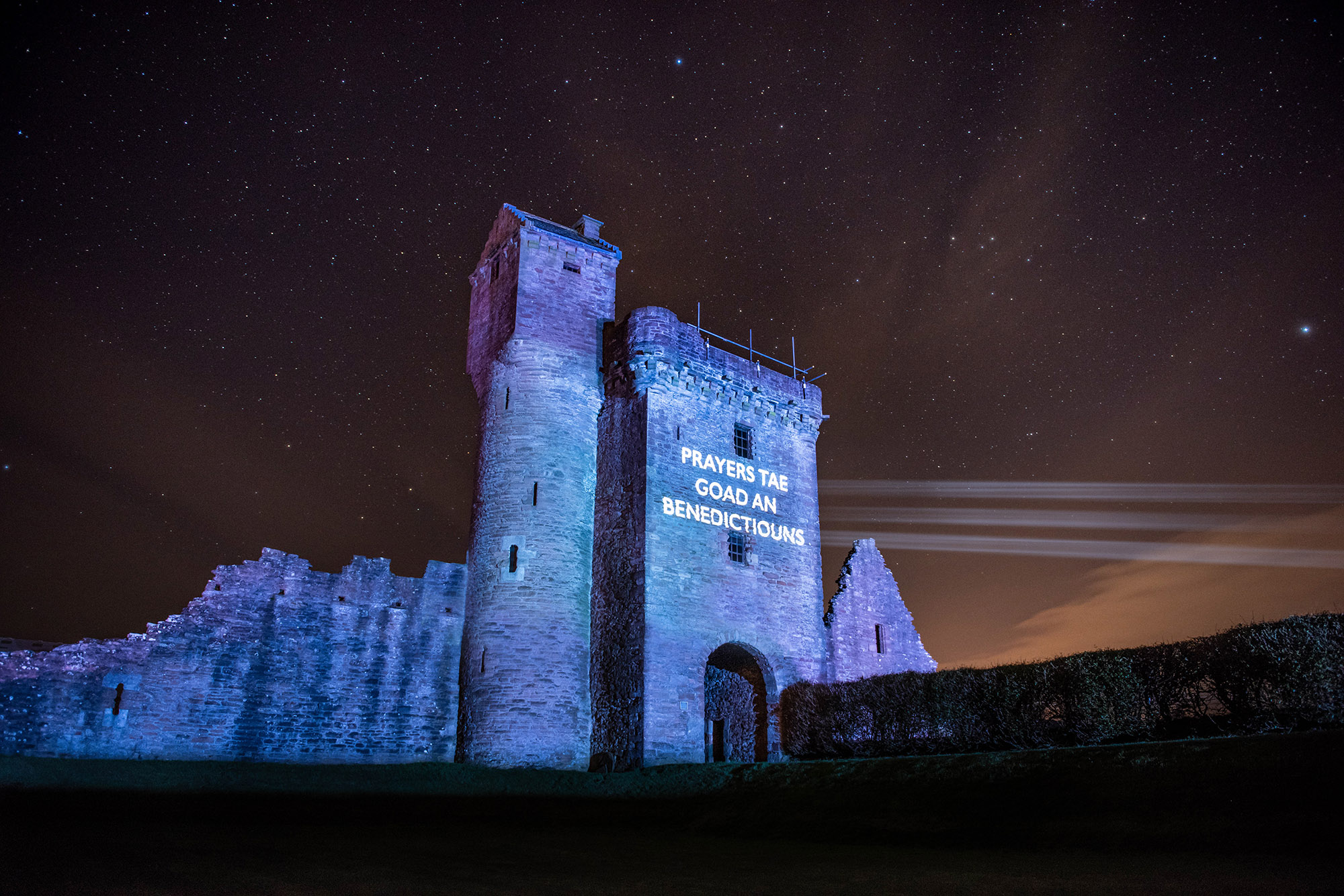 Òran nan Clachan projection timelapse film, Crossraguel Abbey