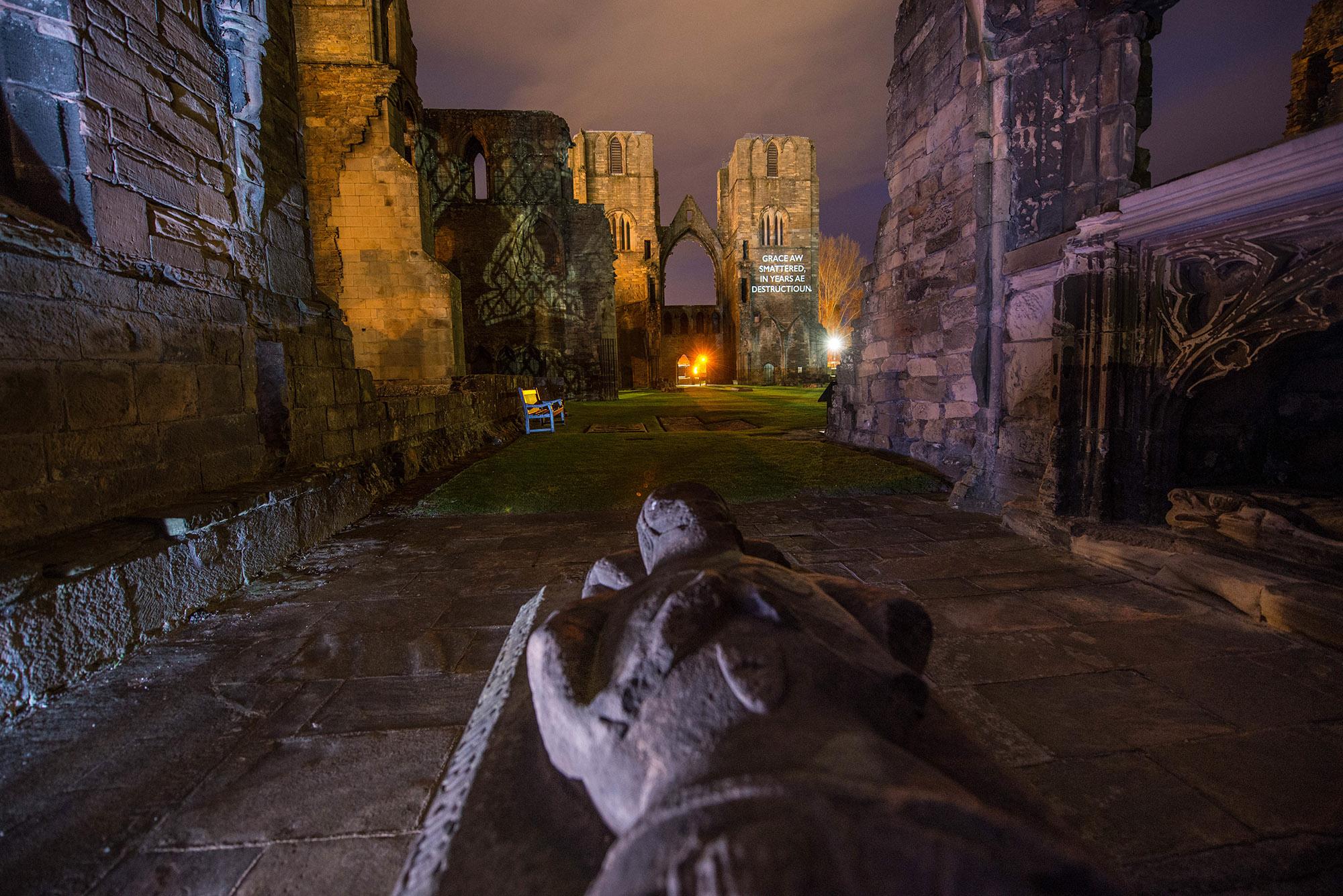 Òran nan Clachan projection timelapse film, Elgin Cathedral