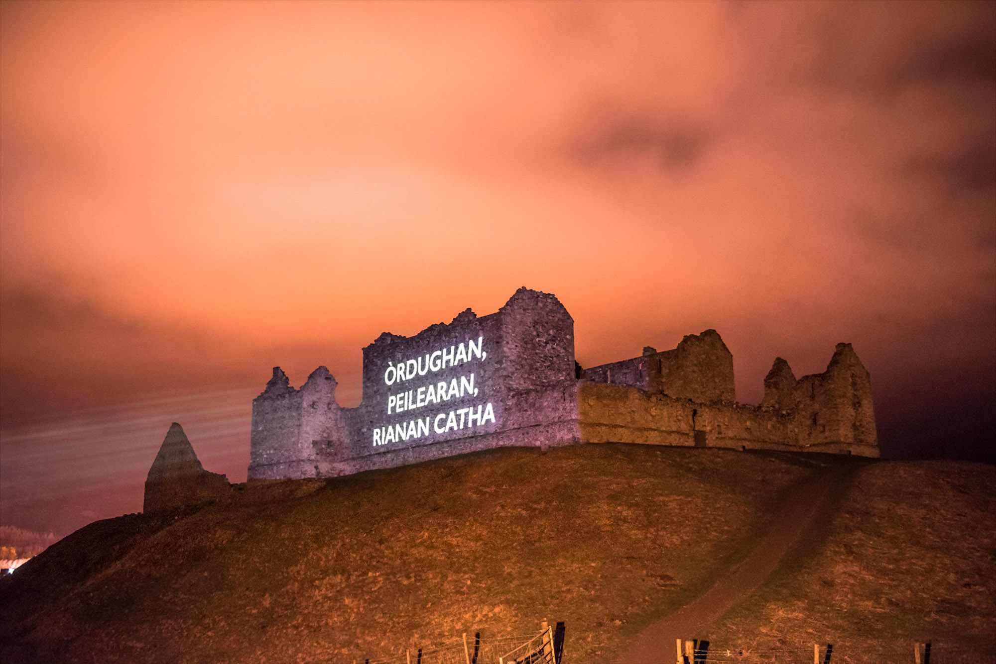 Òran nan Clachan projection timelapse film, Ruthven Barracks