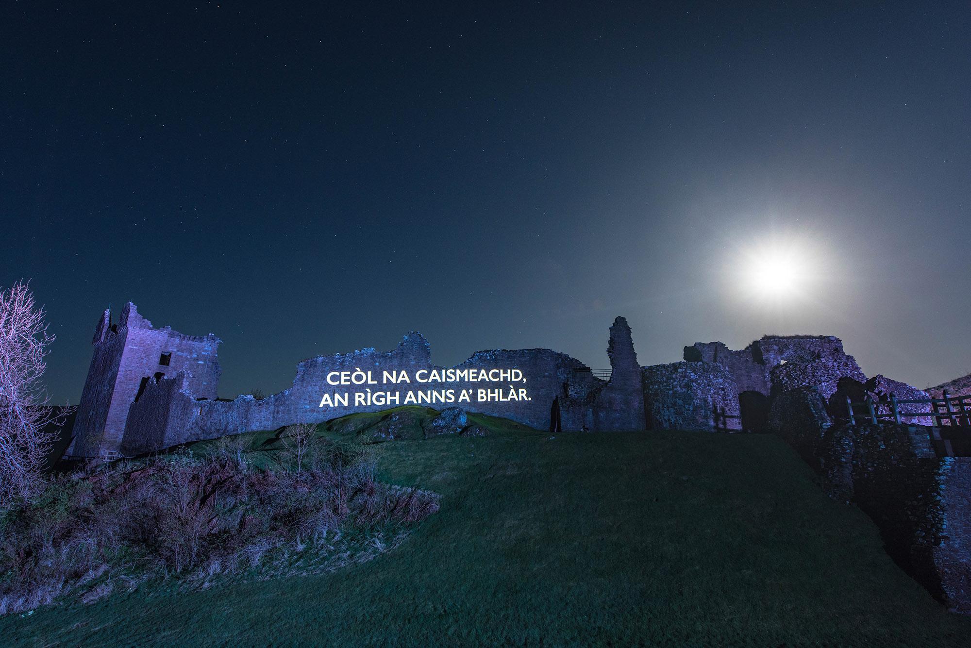 Òran nan Clachan projection timelapse film, Urquhart Castle