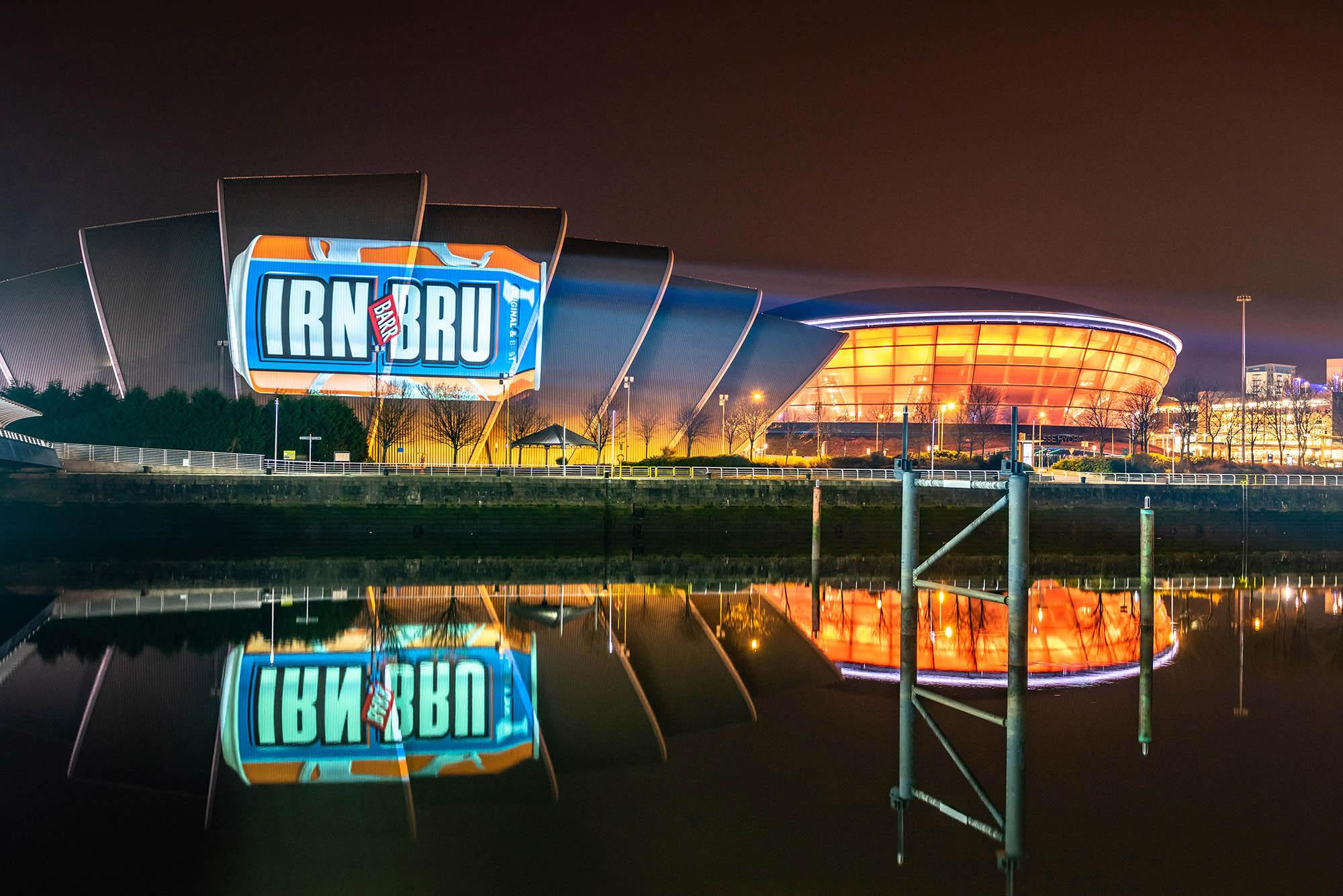 Irn Bru Projection Marketing, on Glasgow Armadillo