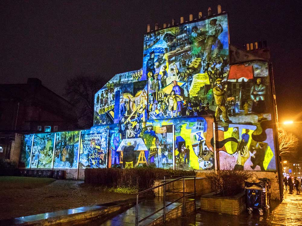 wide angle view of leith mural projection
