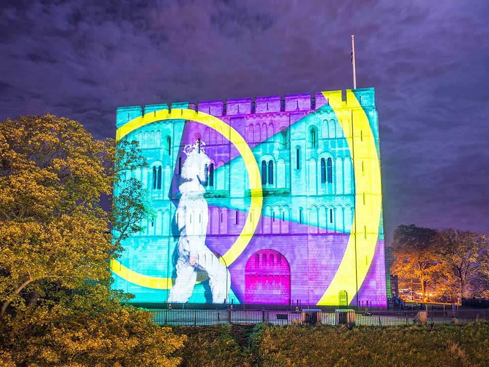 Norwich Castle Christmas Projection show