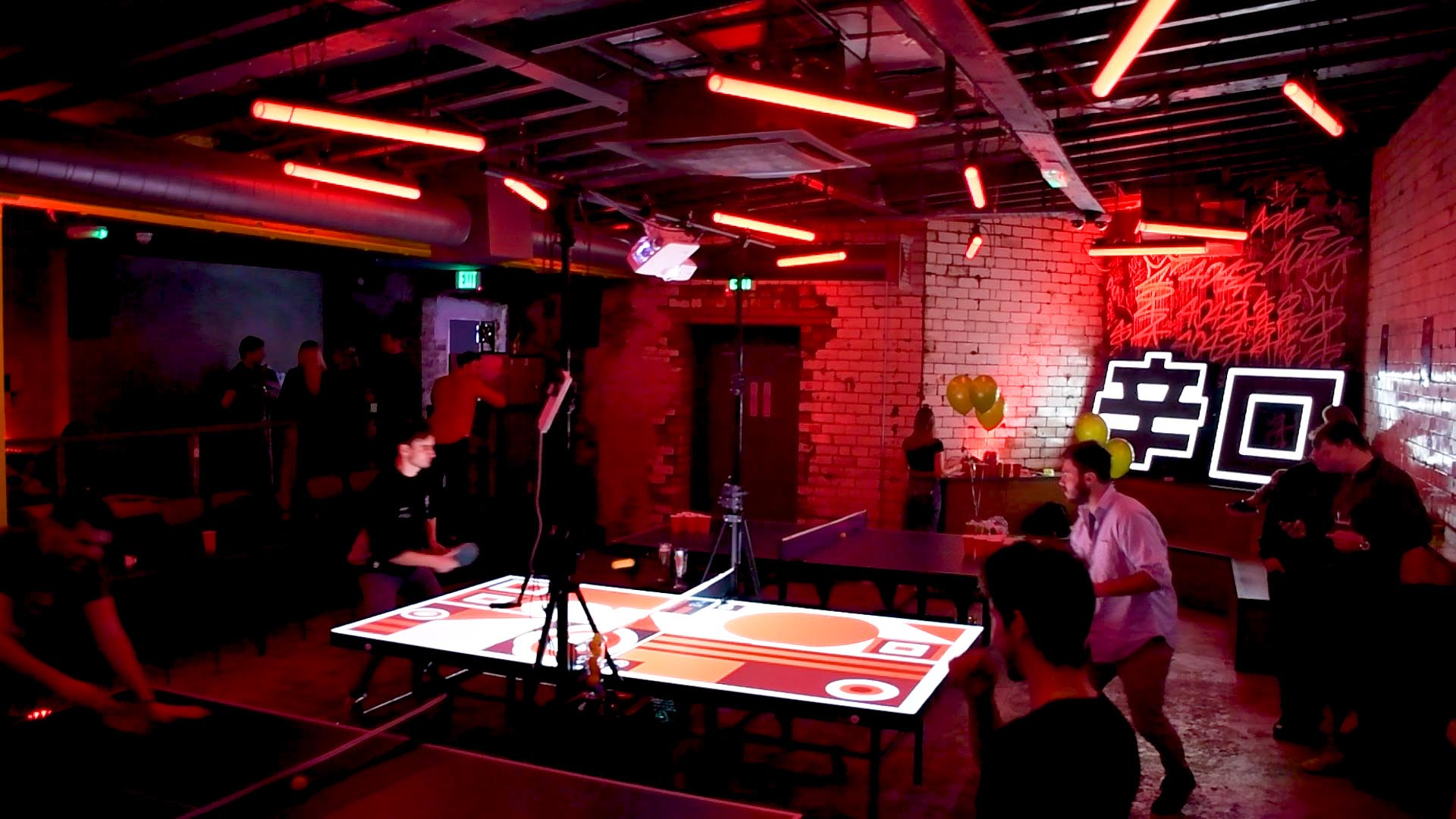 Asahi Interactive Ping Pong Table, with players and projection mapping