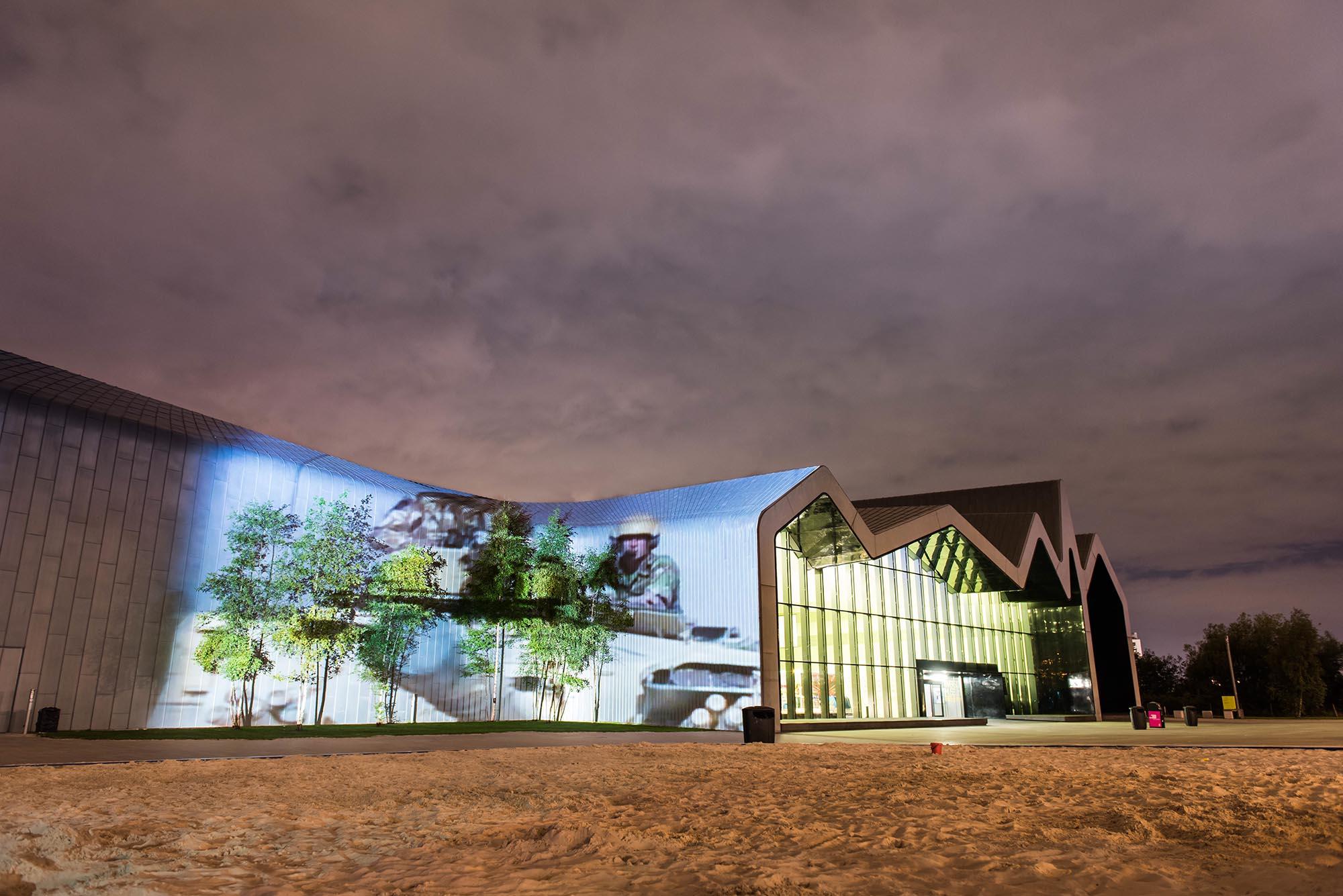 Poppy Scotland projection timelapse film, on Glasgow Riverside Museum