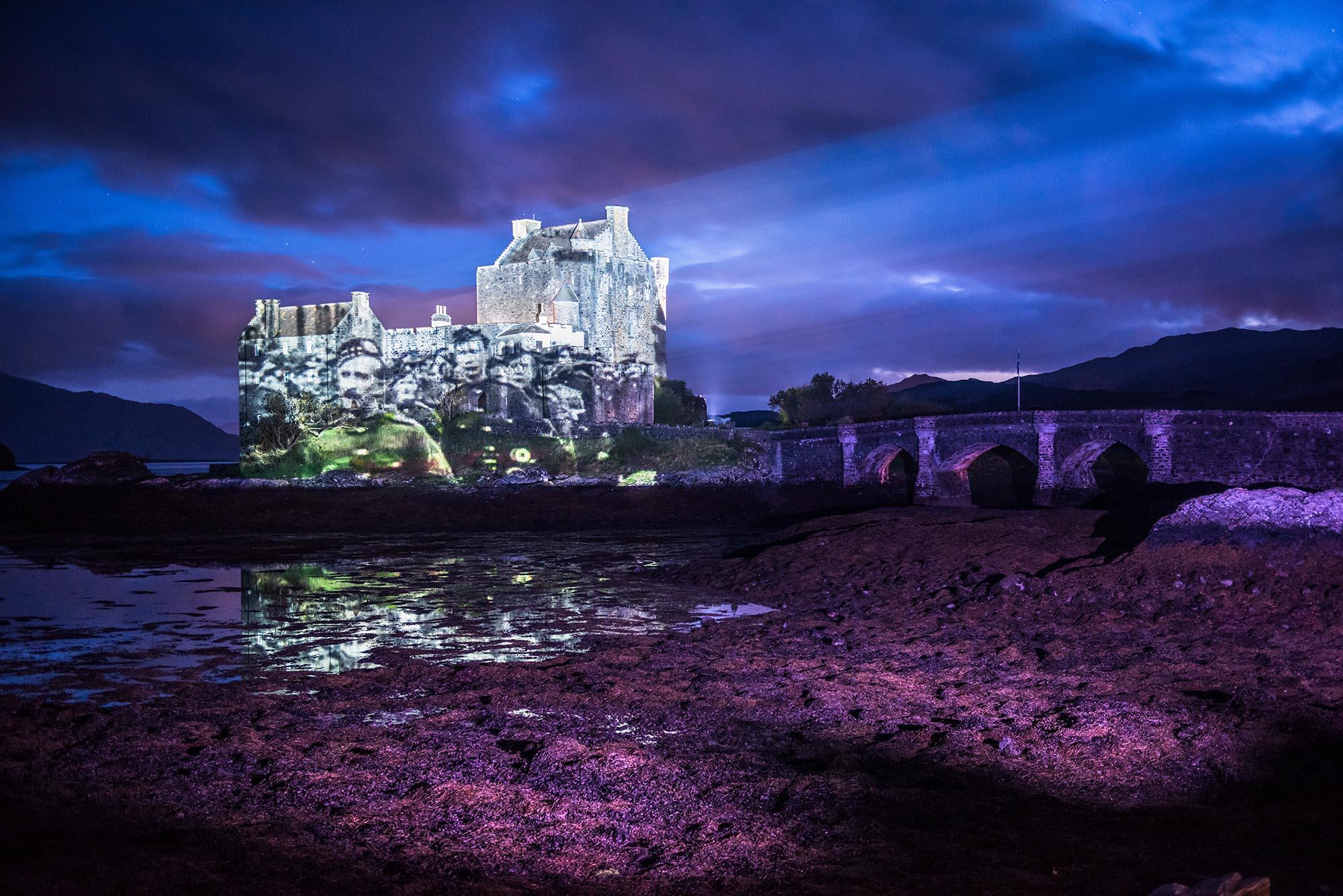 Poppy Scotland projection timelapse film, Eilean Donan Castle
