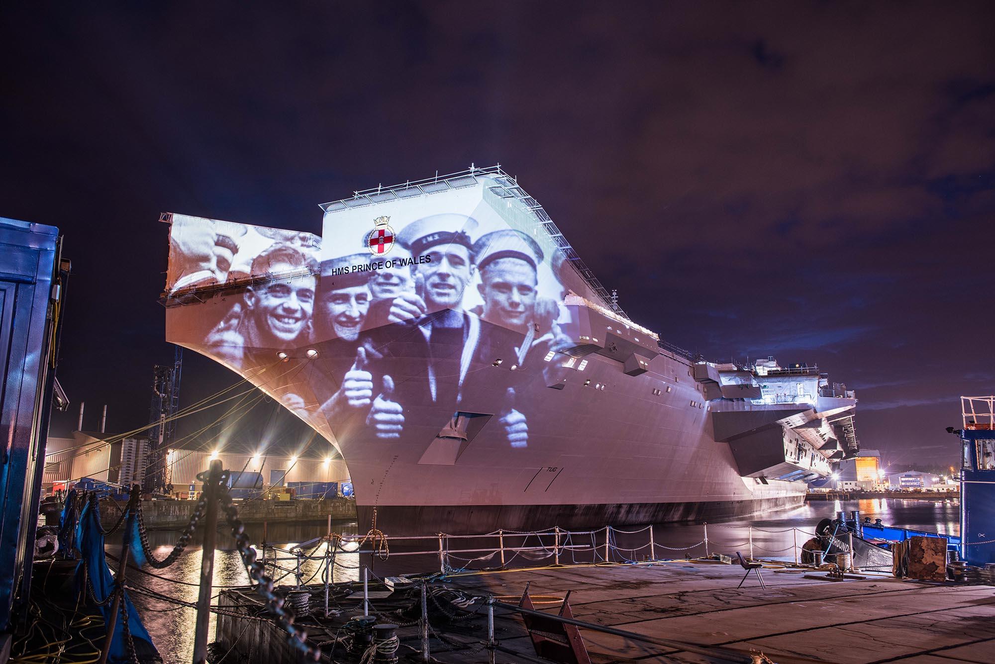 Poppy Scotland projection timelapse film, on HMS Prince of Wales