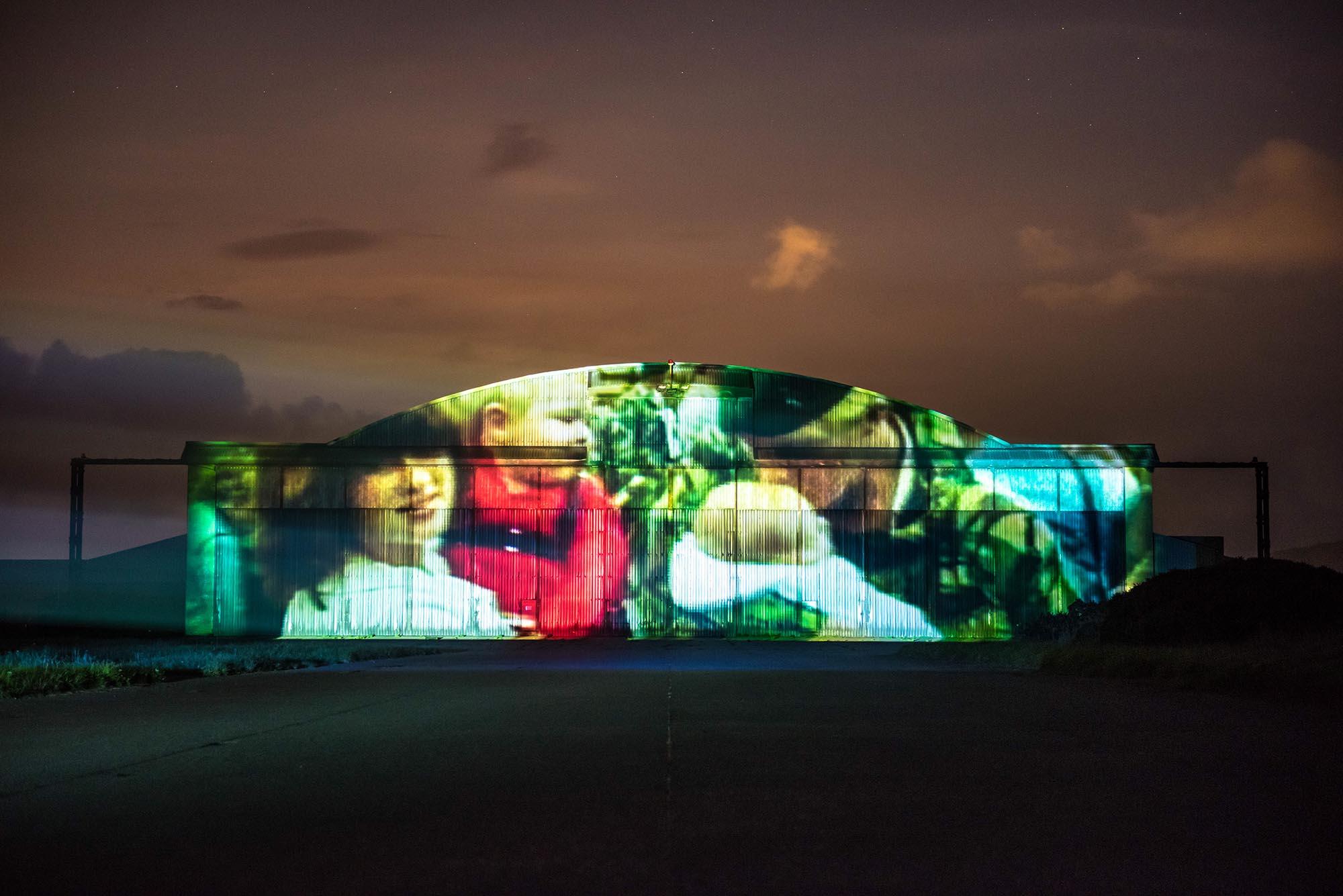 Poppy Scotland projection timelapse film, on Machrihanish Airport Hanger