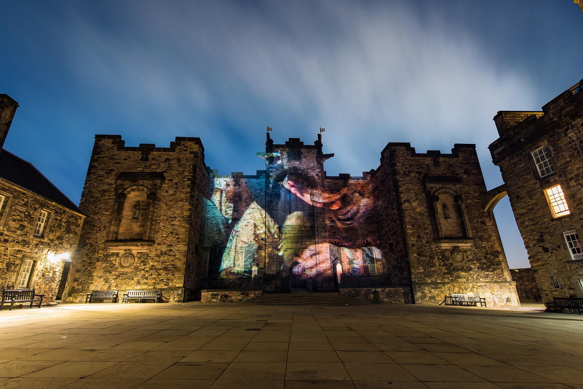Poppy Scotland projection timelapse film, on Scottish National War Memorial