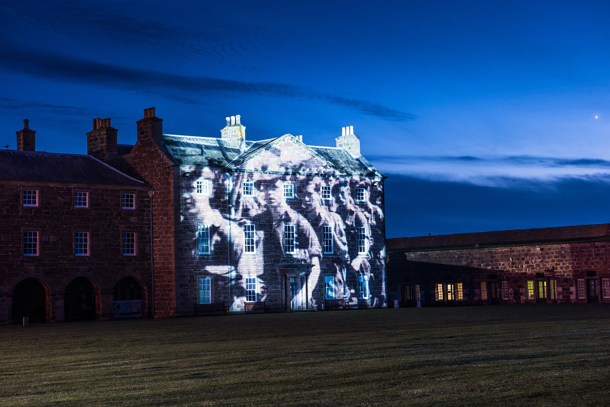 Poppy Scotland projection timelapse film, on Fort George