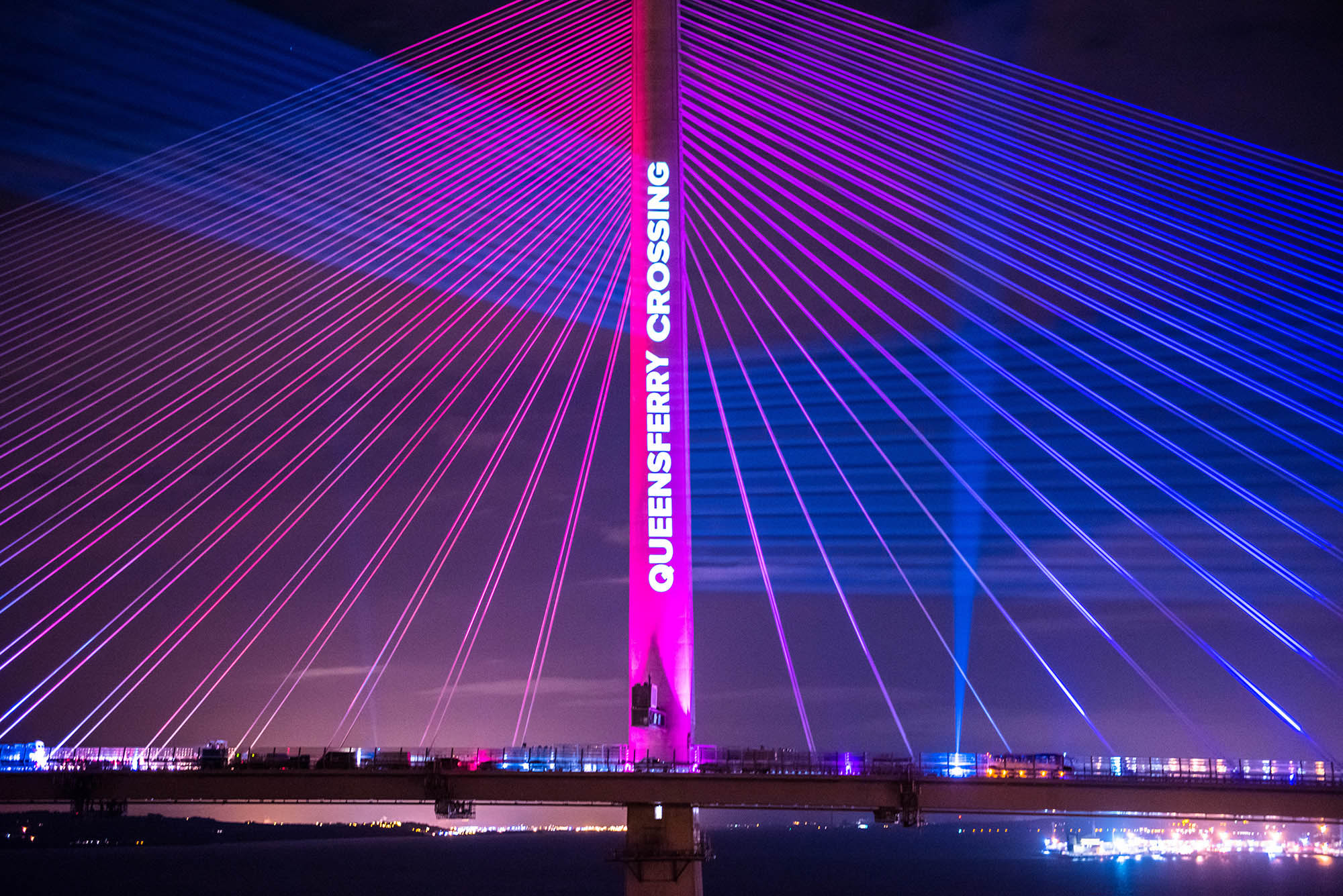 Queensferry Crossing Launch Projection, bridge spire