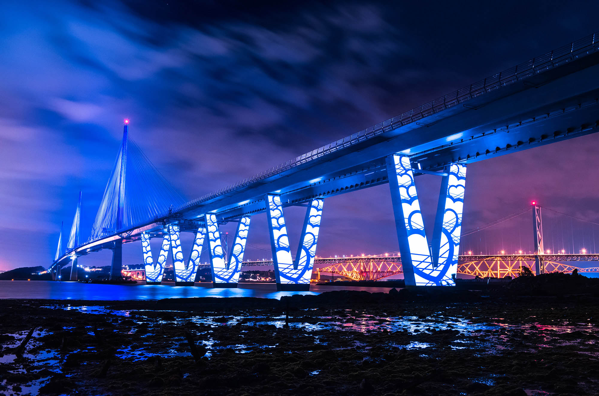 Queensferry Crossing Launch Projection, under bridge
