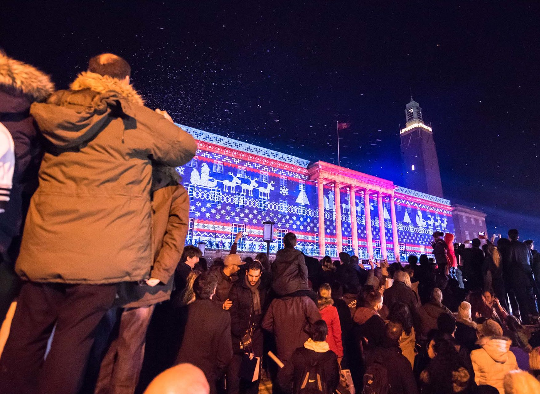 Norwich City Hall Christmas Projections show Live Launch