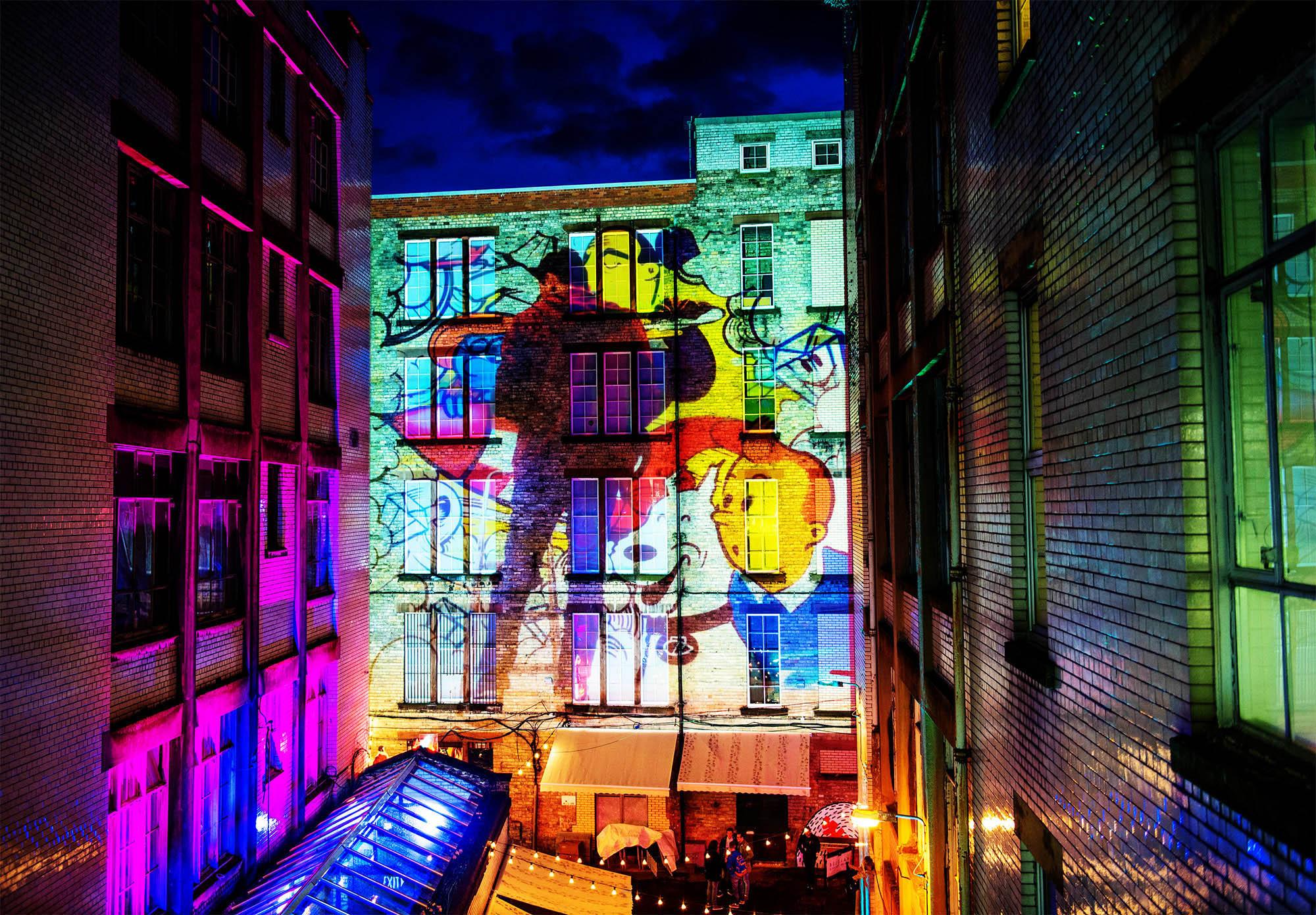 Heverlee Lager Graffiti Projection timelapse, Tontine Lane Glasgow