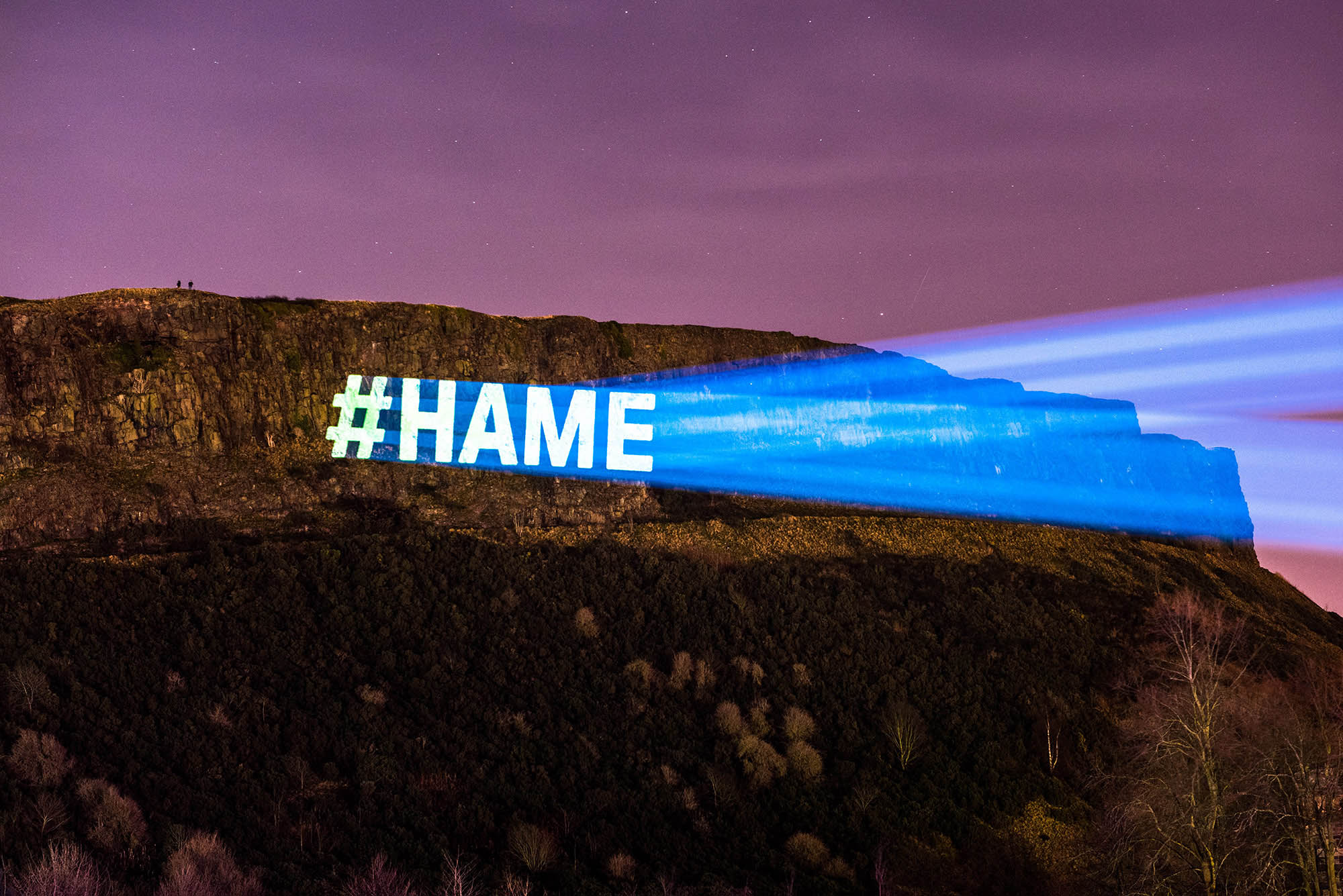 Torchlight Procession Projections, #hame beamed on Edinburgh Crags
