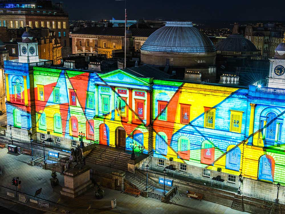 Edinburgh's Giant Advent Calendar Christmas projections on Register House