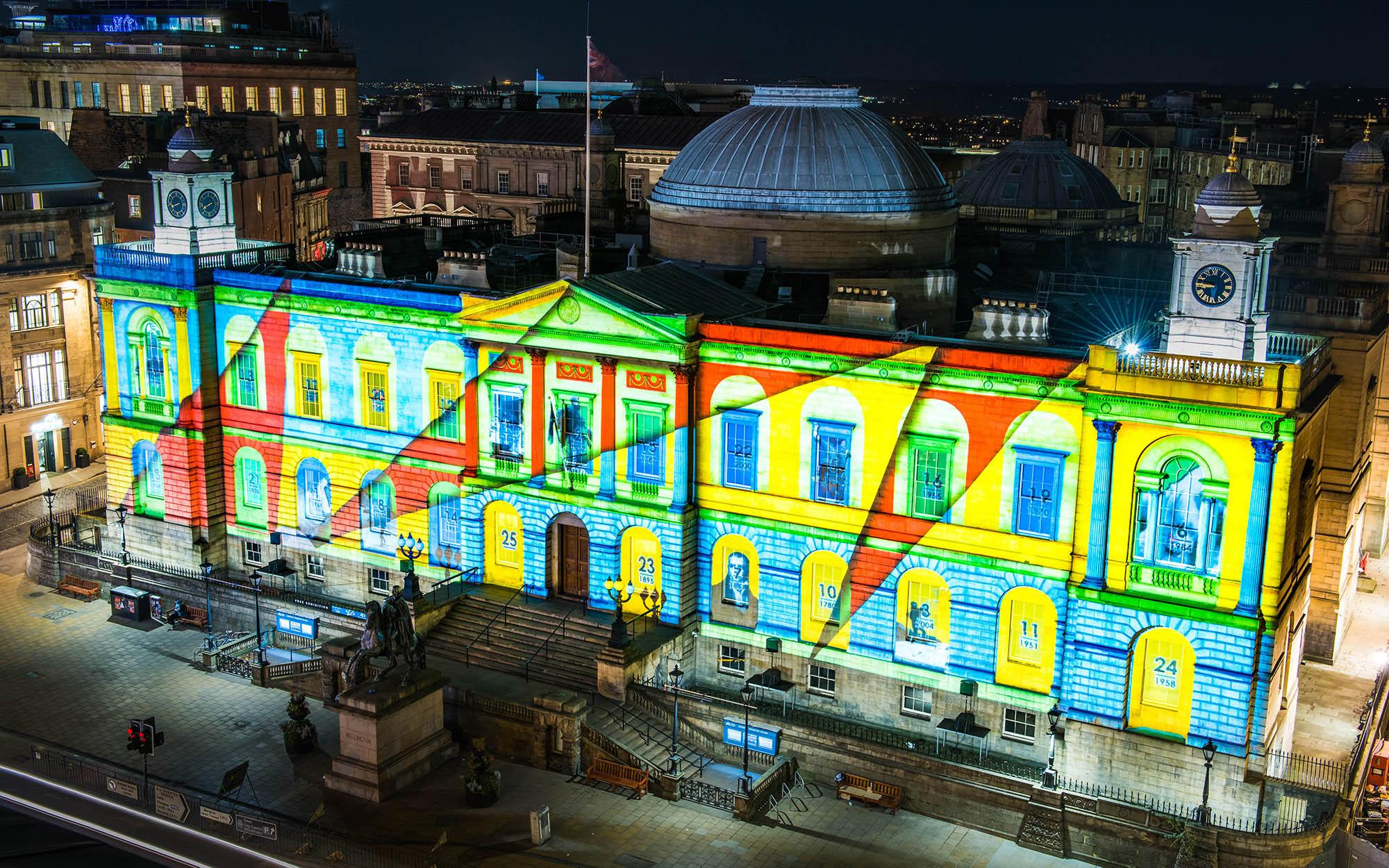 Edinburgh's Giant Advent Calendar Christmas projections on Register House