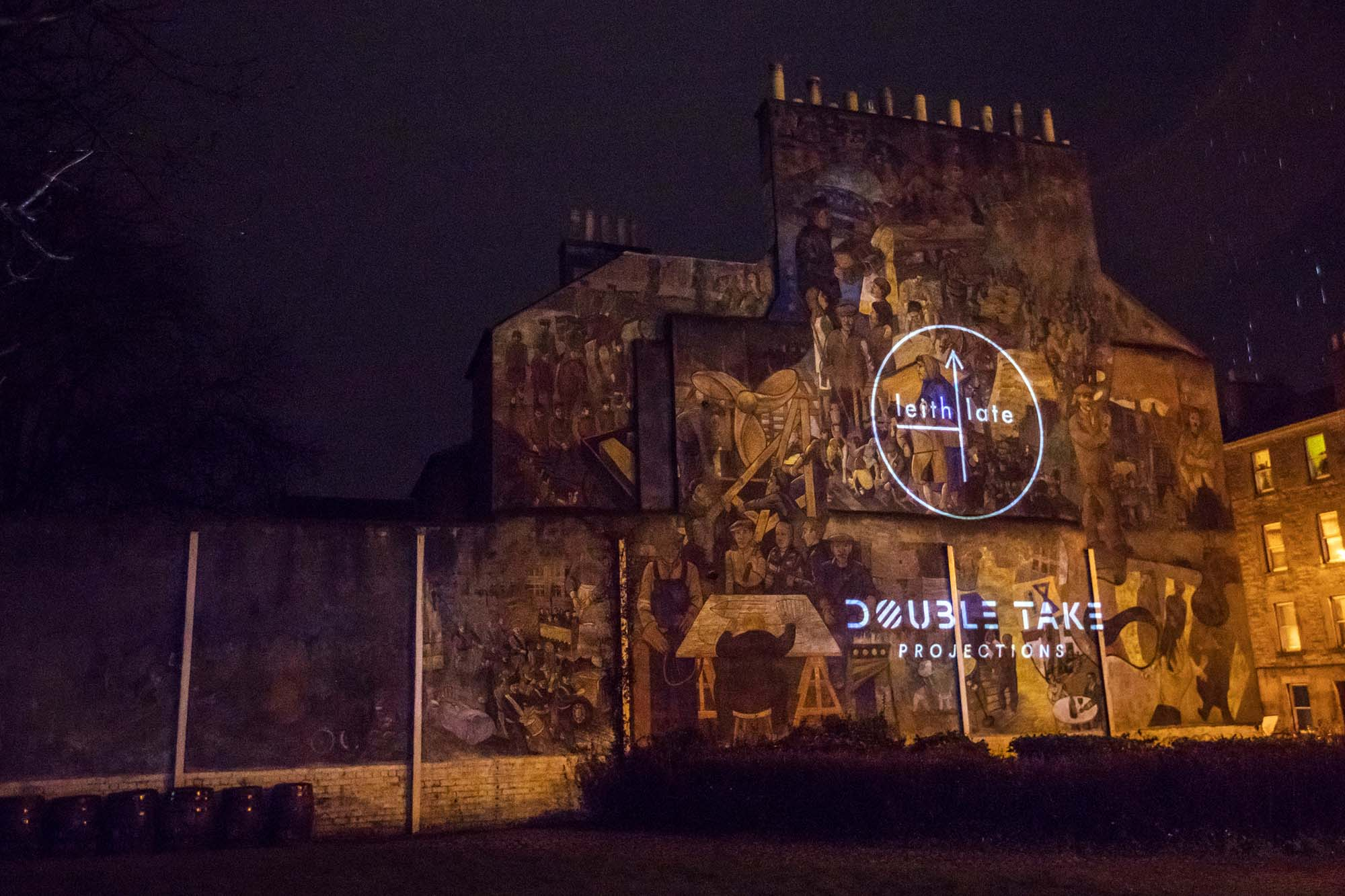 leith mural projections showing partners logos