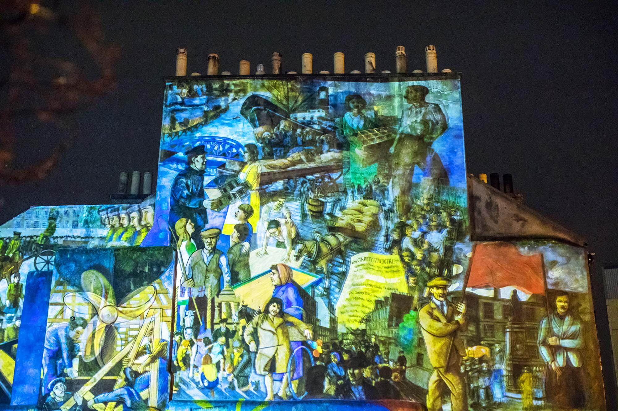 top of leith mural projection facade