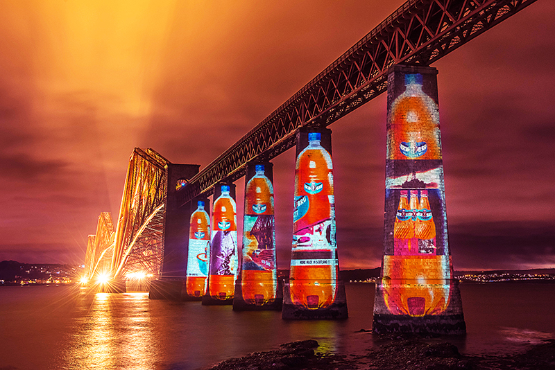 Irn Bru Projection Marketing, on Forth Rail Bridge Edinburgh
