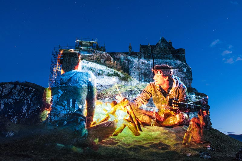 Calmac timelapse marketing film, projection on Duart Castle, Mull
