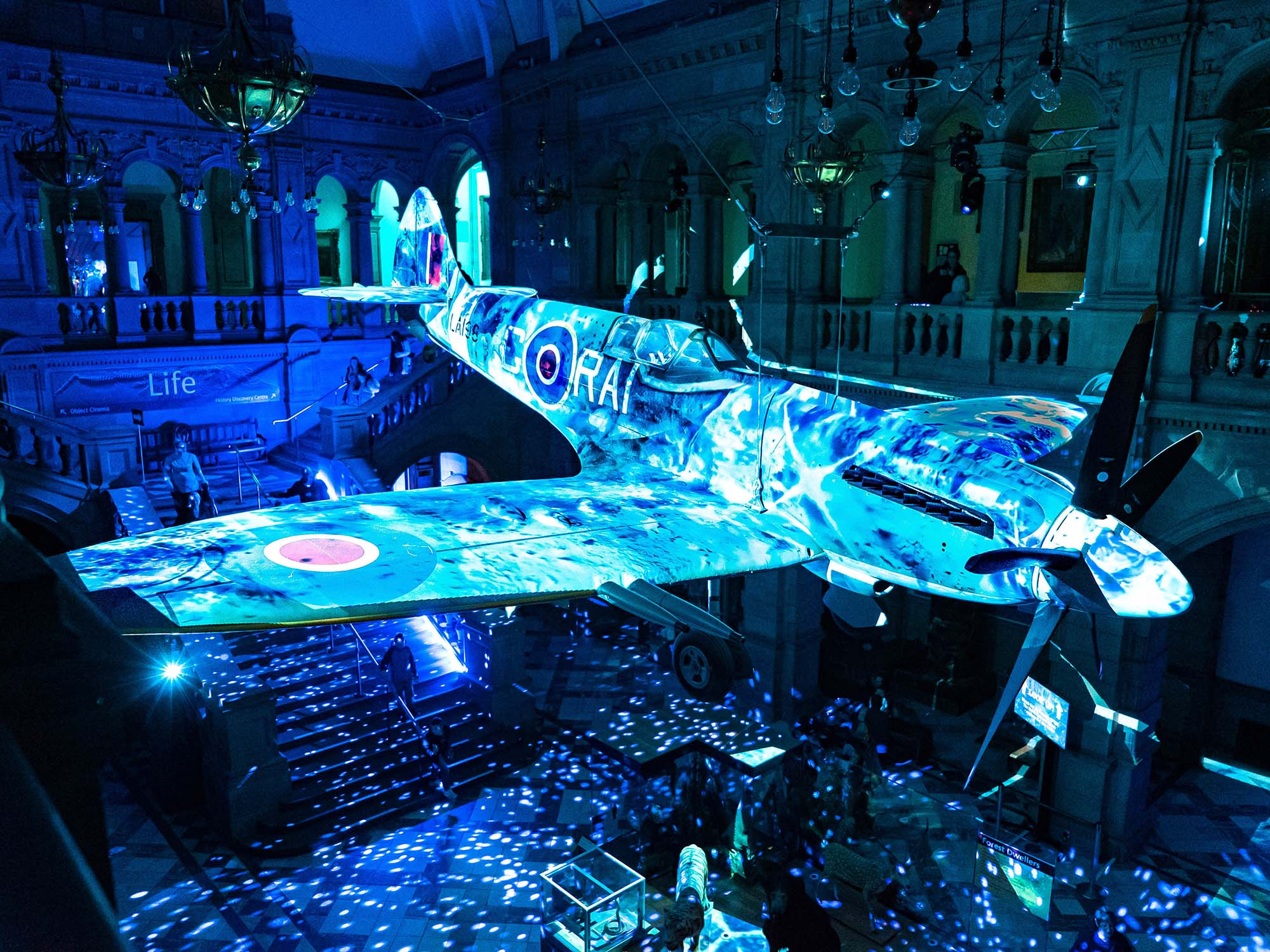 Spitfire Ice Christmas Projections at Kelvin Grove Art Museum Glasgow