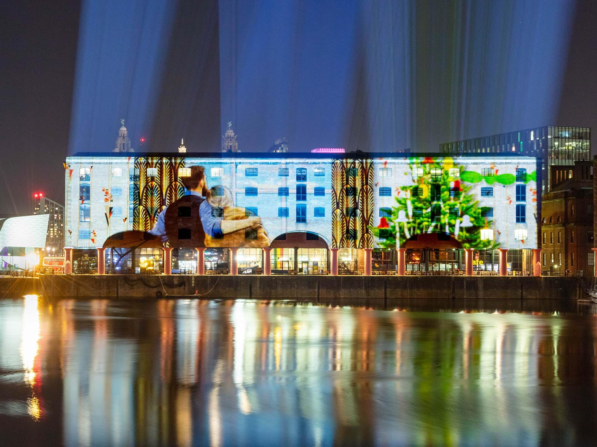 Liverpool Albert Dock Christmas projections show
