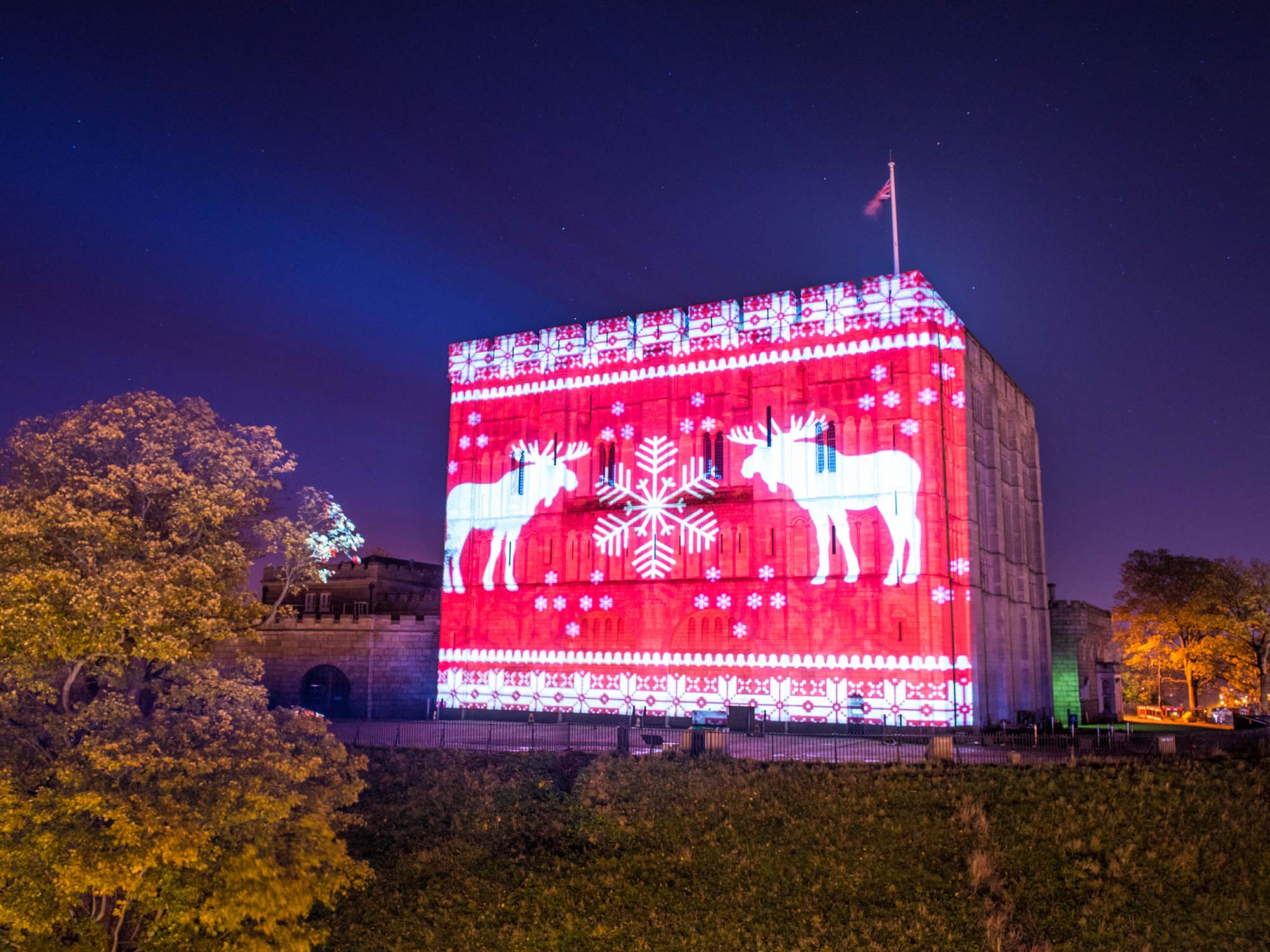 Norwich Castle Christmas projections show live