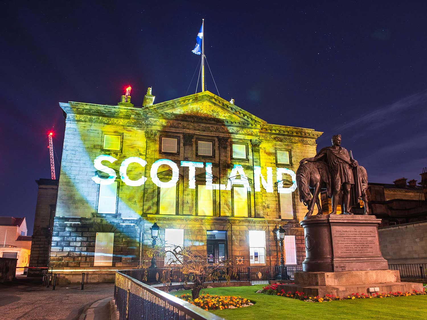 Projection mapping onto RBS St Andrews House, Edinburgh