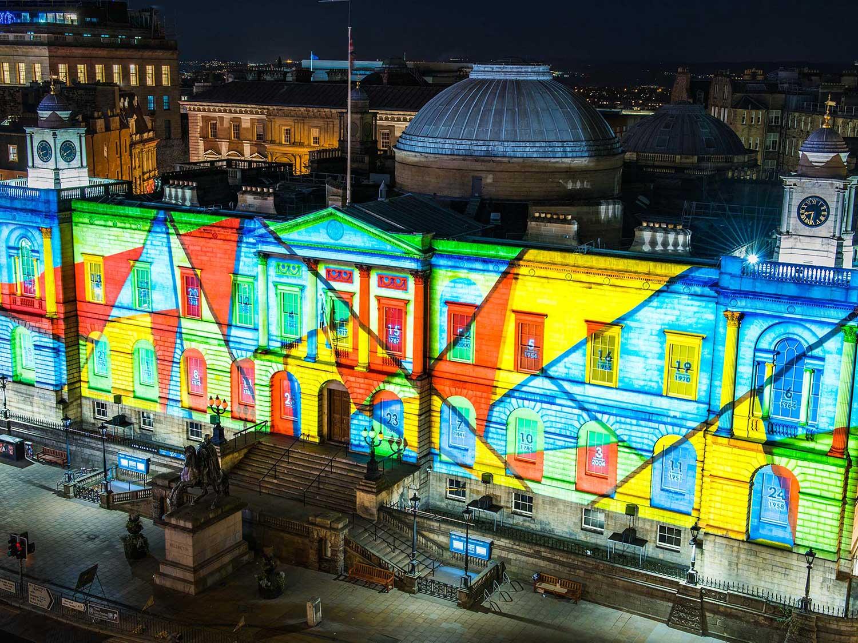 Edinburgh's Giant Advent Calendar Christmas Building Projections on Register House