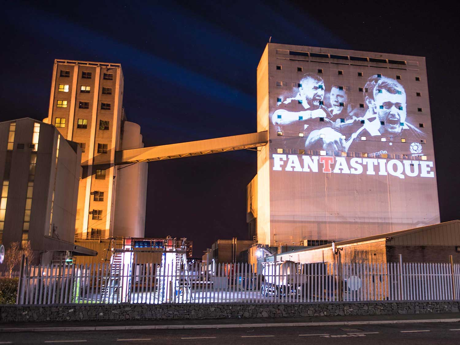 Tennents lager rugby projection advertising on Chancelot mill edinburgh Projection Advertising