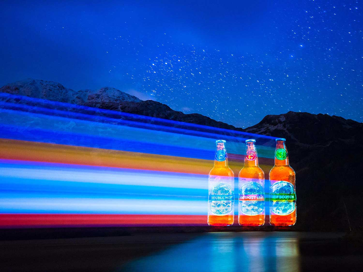 Caledonian Brewery new beer projection advertising on Lock Katrine Projection Advertising