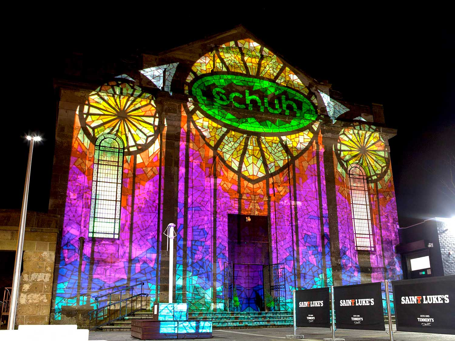 Schuh promotional projection advertising on st lukes Glasgow Projection Advertising