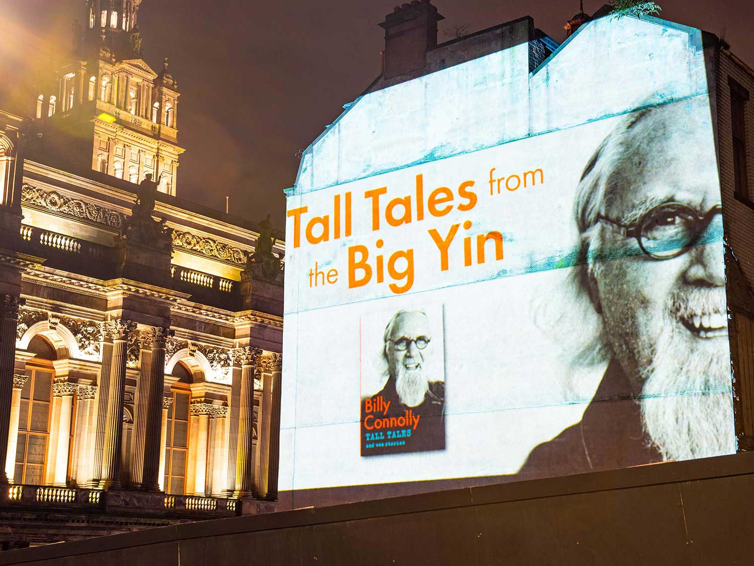 Billy Connolly Book launch projection advertising in Glasgow Projection Advertising