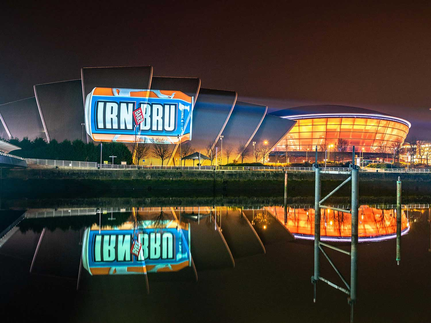 Irn Bru projection advertising onto the Armadillo Glasgow Projection Advertising
