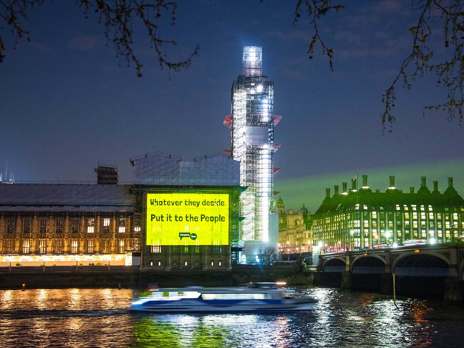 People's Vote Guerrilla Projections, Westminster London