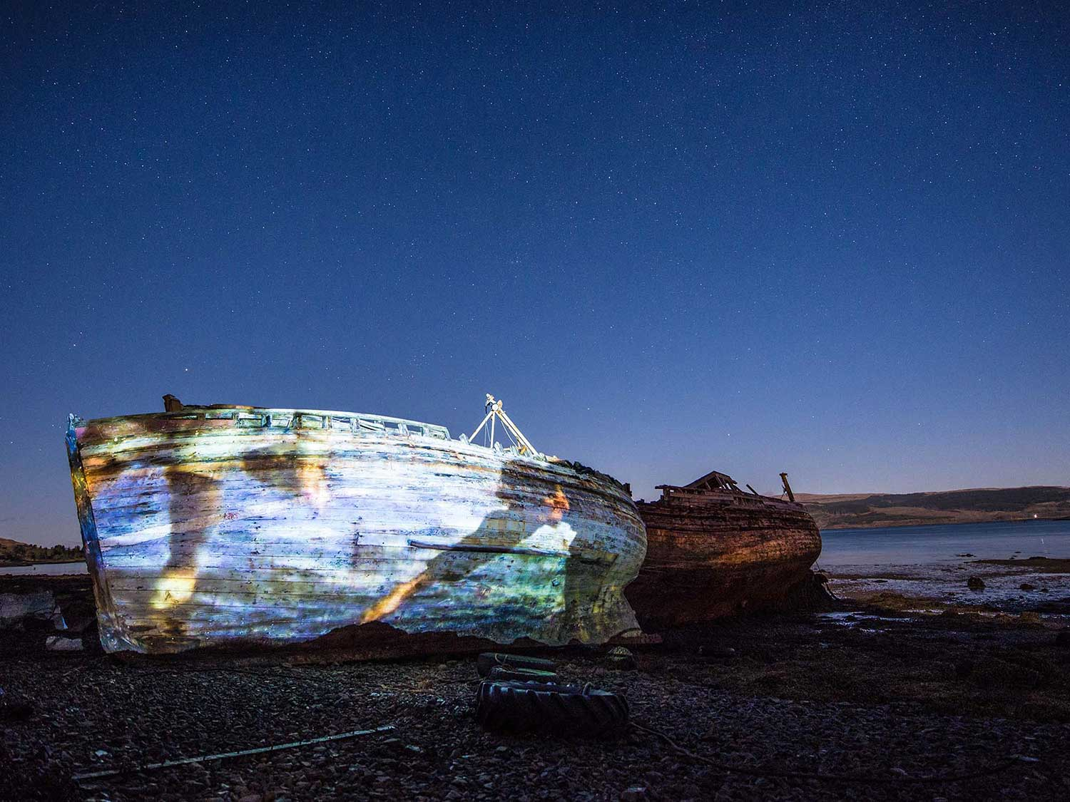 Calmac timelapse marketing film, Guerrilla Projections on abandoned boats, Mull