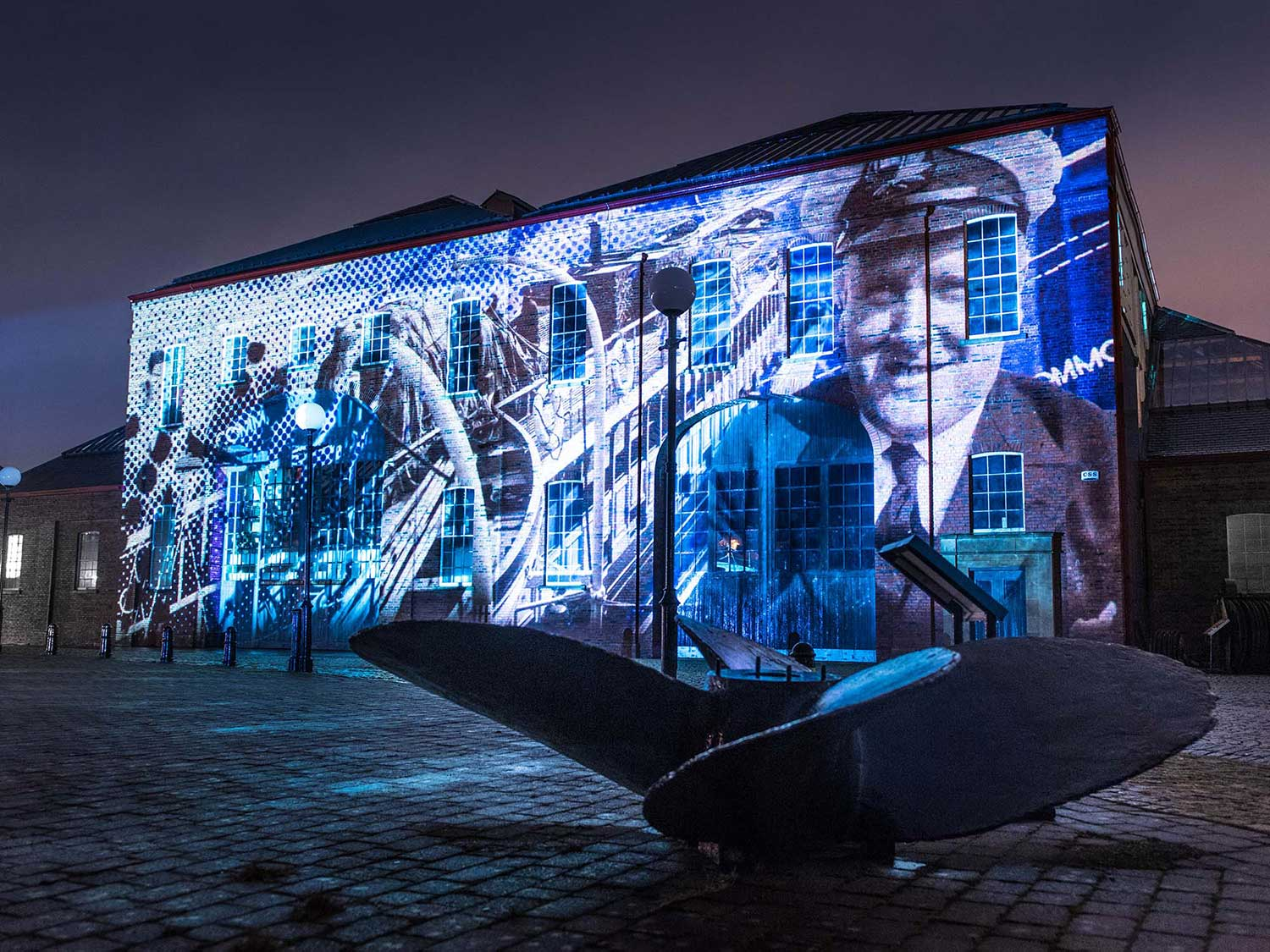 Illumination, Irvine Maritime Museum Building Projections show, archive footage
