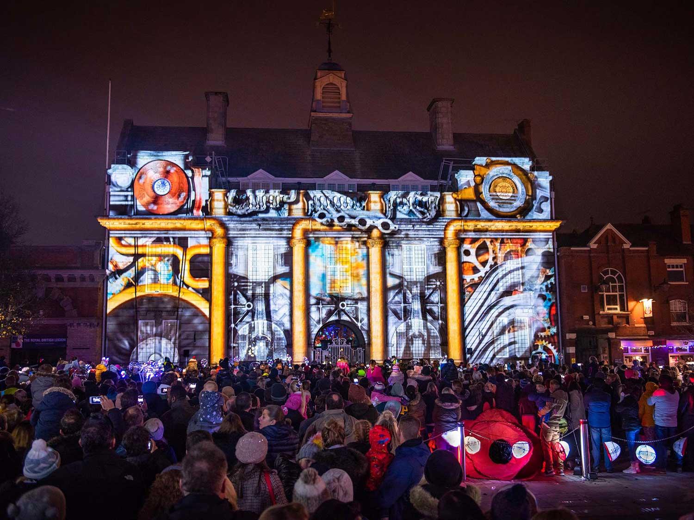 Lumen Light Festival, Building Projections on Municipal Hall, Christmas show