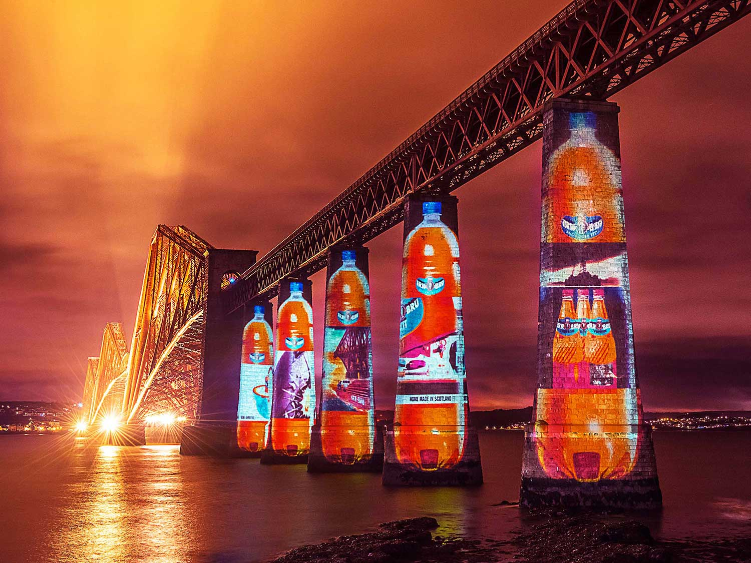 Irn Bru Guerrilla Projections, on Forth Rail Bridge Edinburgh