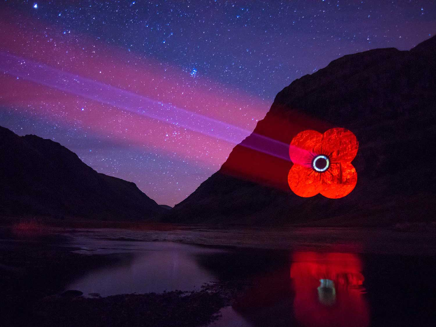 Poppy Scotland logo Guerrilla Projections onto Mountain in Glencoe
